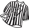 Black and White Striped Referee Shirt and Whistle clipart