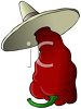 Mexican Chili Pepper Wearing a Sombrero clipart