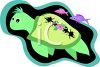 Cartoon sea turtle in the tropics with fish swimming alongside clipart