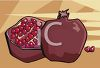 Halved Pomegranate with The Seeds Showing clipart