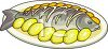 Cartoon Style Food-Whole Fish on a Platter with Lemon Slices clipart