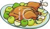 Cartoon Style Food-Fruit and Chicken clipart