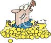 Cartoon of a man Surrounded By Lemons for Lemonade clipart