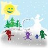 Kids Playing in the Snow in a Winter Scene clipart