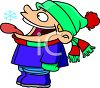 Cartoon of a Boy Letting Snowflakes Fall on His Tongue clipart