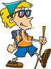 Cartoon of a Girl Hiking Wearing Sunglasses clipart