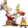Cartoon of a Man Camping Catching on Fire clipart