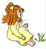 Cute Little Red Haired Girl in Her Nightgown clipart