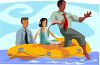 Concept of a Businessman Taking a Risk-People in a Raft with One Stepping Out clipart