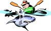 Cartoon of a Man in a Rowboat with Sharks Swimming Around Him clipart