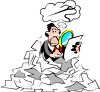 Metaphor for Looking for a Needle in a Haystack-Businessman Looking Through a Pile of Paperwork clipart