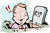 Cartoon of a Businessman Digging His Own Grave clipart