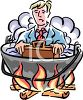 Businessman in Hot Water Metaphor clipart