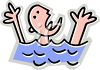 Cartoon of a Guy Drowning  clipart