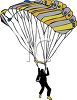 Skydiver Falling with His Parachute clipart
