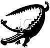Silhouette of a Cartoon Alligator clipart
