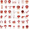 Icon Collection of Various Items in Red clipart