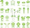 Large Collection of Icon Buttons in Shiny Green clipart