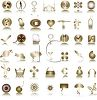 Large Collection of Various Symbols on Metallic Buttons Icons clipart