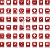Large Collection of Various Web Buttons in Red clipart