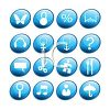 Glassy Buttons for Various Icons clipart