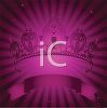 Jeweled Tiara on a Purple Background with a Scroll clipart