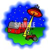 Cartoon of a Flying Saucer Abducting a Farmer clipart
