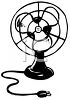 Black and White Drawing of a Vintage Fan clipart