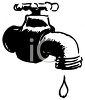 Black and White Drawing of a Leaky Faucet clipart