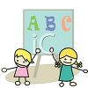 Cute kids at school doing their ABC's clipart