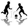 Kids playing soccer clipart