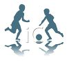 Boys playing soccer or football clipart