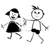 Cartoon kids, a boy and girl holding hands clipart