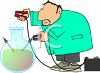 Scientist Performing an Experiment with a Car Battery clipart
