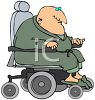 Old Fat Bald Man in an Electric Wheelchair clipart