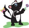 Cute Cartoon Skunk Holding a Flower clipart