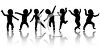 Silhouettes of Cute Babies Dancing clipart