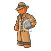 Orange Man Character Depicting a Private Detective clipart
