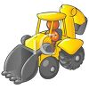 Orange Man Character Driving a Backhoe clipart