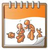 Orange Character Family on a Calendar Page clipart