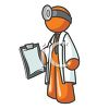 Orange Man Character Depicting a Doctor clipart