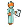Orange Man Character Depicting a Surgeon clipart