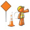 Orange Man Character Depicting a Road Crew Flagger clipart