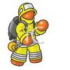Orange Man Character Depicting a Fire Fighter clipart