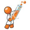 Orange Man Character Depicting a Chemist clipart
