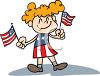 4th of July Cartoon of a Girl Holding Two Little Flags clipart
