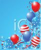 Celebrating the 4th of July with Stars and Striped Balloons clipart