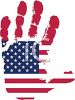 Patriotic Handprint with the American Flag Embossed Into It - Royalty Free Clip Art Picture