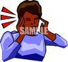 Black woman with a headache clipart