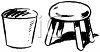 Black and White Vintage Style Milking Stool and Pail clipart